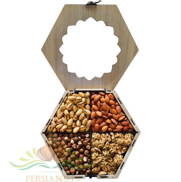 Nuts Box- Hexagonal-window-open